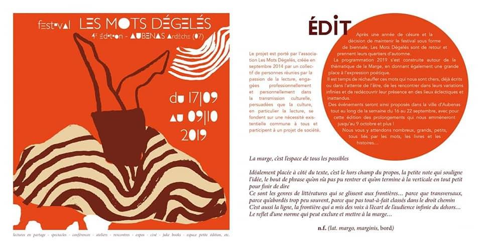 Du 17 septembre au 9 octobre à Aubenas, le Festival Les Mots dégelés aura pour thème La marge.